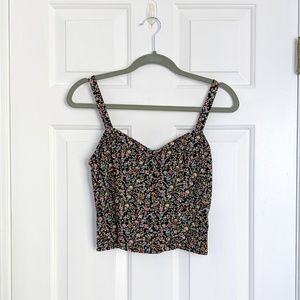 NEW Abercrombie & Fitch Black Floral Crop Top